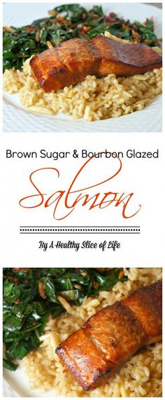 Sugar & Bourbon Glazed Salmon brown sugar and bourbon glazed salmon- quick and foolproof - delicious!brown sugar and bourbon glazed salmon- quick and foolproof - delicious! Healthy Salmon Recipes, Fish Recipes, Seafood Recipes, Dinner Recipes, Cooking Recipes, Vegetarian Recipes, Bourbon Glazed Salmon, Brown Sugar Glazed Salmon, Healthy Slice