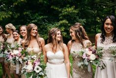 Paper Hearts Co | bridal party in lace and taupe