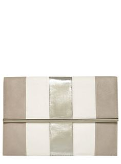 Grey and white stripe clutch - View All Accessories  - Accessories