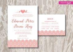 Coral Wedding Invitation-Digital wedding invitation-Printable wedding invitation set-Custom wedding invitation  by Linvit on Etsy