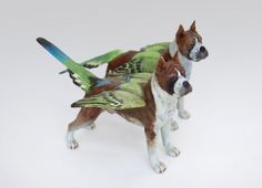 "Debra Broz, Guardians (Winged Dogs). 2012. 6"" h., Collection of J & E Sumner, ceramica"