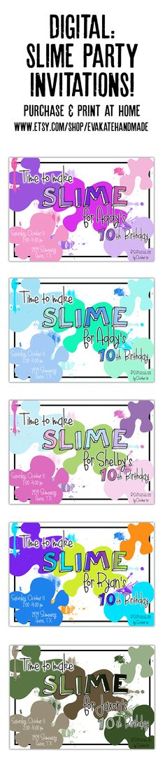 Slime party invitations. YOU PRINT. Digital customized invites. 5x7. $12.00 #slime #slimeparty #slimepartyinvitation #fluffyslime