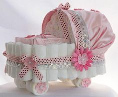 "Stunning Pink and Pearl Silk Baby Girl Diaper Cake/ Bassinet this diaper bassinet! For the diaper "" drawing "" Cadeau Baby Shower, Baby Shower Crafts, Baby Shower Diapers, Baby Shower Games, Baby Shower Parties, Baby Shower Decorations, Shower Gifts, Baby Shower Diaper Cakes, Cake Decorations"