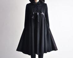 DAN MILLSTEIN princess coat / babydoll coat / vtg 50s wool swing coat / s