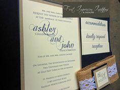 Burlap & Lace Pocketold Wedding Invitation by 1stImpressionInvites