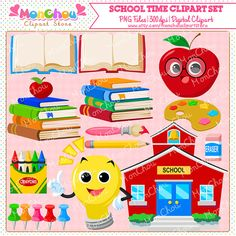School Time Clipart Set - For Commercial and Personal Use      Set of 15 pieces school themed cliparts!    You will get a set of 15 pieces 300dpi high-quality cliparts in .PNG format with transparent background. This clipart set includes a a school clipart, lightbulb clipart, an apple clipart, 3 teacher cliparts, 2 open book cliparts, 2 book stack cliparts, a paintbrush clipart, a paint palette clipart, a pencil clipart, an eraser clipart, and pushpin cliparts.    You will receive a zip file…