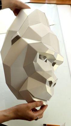 Gorilla PDF Kit mask, DIY Gorilla 3D Mask, Gorilla mask pattern Gorilla Tattoo, Gorilla Mask, Cardboard Mask, Cardboard Paper, Paper Crafts Origami, Diy Paper, Paper Face Mask, 3d Origami Tutorial, Modelos 3d