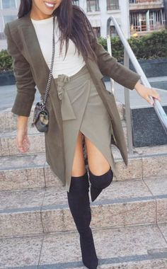 #cute #outfits White Top // Grey Coat // Asymetric Skirt // Black Over The Knee Boots