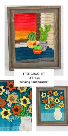 Crochet Painting Crochet A Long - Winding Road Crochet Crochet Quilt Pattern, Crochet Flower Patterns, Crochet Flowers, Crochet Potholders, Crochet Wall Art, Crochet Wall Hangings, Freeform Crochet, Tapestry Crochet, Crochet Poncho