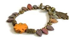 Czech crystal orange bracelet, hippie beaded bracelet, jewel bohemian, yoga mantra om, Fatima's hand, shabby boho chic  style, womens gift