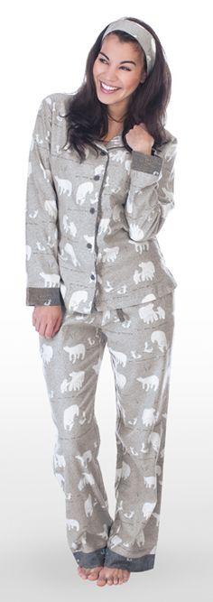 "Munki Munki Women's ""Polar Bears"" Flannel Pajama Set in Heather Grey"