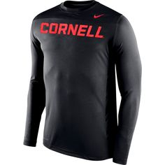 Cornell Big Red Nike Warp Speed Legend Performance Long Sleeve T-Shirt – Anthracite/Carnelian - $43.19