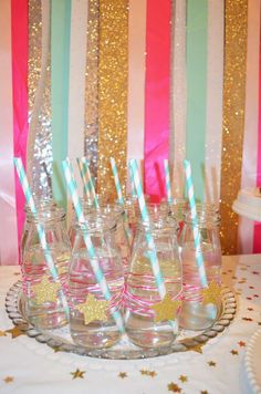 Amelia's Twinkle Twinkle Little Star Baby Shower | CatchMyParty.com pink gold silver aqua blue glitter