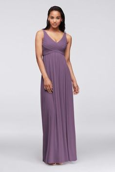 A long and breezy dress that will flatter any silhouette!  Sleeveless tank pleated bodice with ultra-feminine v-neckline features swooping cowl back detail.  Longsoft mesh skirt flows with grace.  Fully lined. Back zip. Imported polyester. Dry clean only.  Available in Extra Length sizes as Style 4XLF15933.