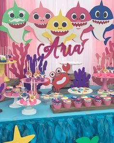 Baby shark birthday party, baby shark birthday banner, baby shark cake topper, kids party, kids birthday party ideas, baby shark themed party, baby shark theme, baby shark centerpiece, baby shark party, baby shark, baby shark decorations, baby shark party ideas, baby shark party in a box, baby shark decor Toddler Birthday Cakes, Shark Birthday Cakes, 2nd Birthday Party Themes, Girl 2nd Birthday, Fall Birthday, Birthday Party Decorations, Birthday Ideas, Shark Decorations, Baby Shark