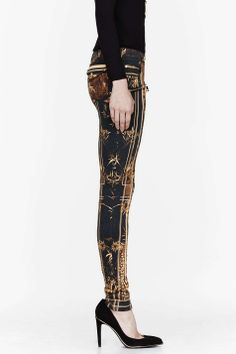Gold printed jeans on Wantering