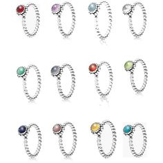 Pandora Birthstone Rings by stephanie-rozek-paris on Polyvore featuring polyvore, fashion, style and Pandora