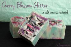 Soap Queen Cherry Blossom Glitter Cold Process | Soap Queen - So gorgeous! What a great way to use up soap scraps.