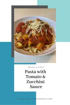Need an easy and fast dinner idea that the whole family will love? Learn how to make this tomato and zucchini sauce recipe! This delicious sauce goes great over any pasta noodles. Ready on the table in 15-20 minutes! Grab this quick dinner recipe today! One Dish Dinners, Fast Dinners, Best Pasta Recipes, Real Food Recipes, Easy Delicious Dinner Recipes, How To Peel Tomatoes, Easy Pasta Dishes, Pasta Noodles, Healthy Dishes