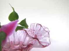 Vintage Fenton Art Glass Amethyst Ruffle Edge Bowl with Cabbage Roses Shabby Chic Victorian
