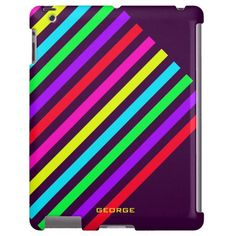 #colorful #diagonal #stripes  #personalized by name - #ipad #case