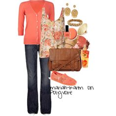 Fancy Coral Floral, created by mariah-karm on Polyvore