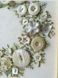 Great sewing idea to use up grandmas old buttons. Looks nice in a frame for Christmas Silk Ribbon Embroidery, Beaded Embroidery, Cross Stitch Embroidery, Embroidery Patterns, Hand Embroidery, Fabric Crafts, Sewing Crafts, Sewing Projects, Button Art