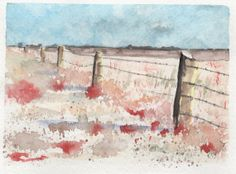 Watercolor Original Painting Postrock Fence by RivergarthArts, $65.00
