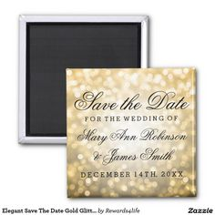 Elegant Save The Date Gold Glitter Lights 2 Inch Square Magnet