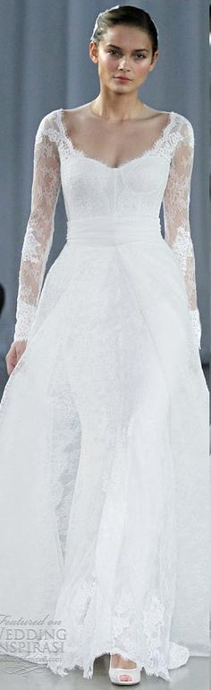 Monique Lhuillier long sleeve wedding dresses fall 2013 memory serendipity