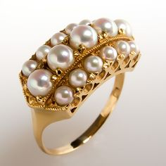 Antique Seed Pearl Ring w/ Mill Grain Details Solid 18K Gold Fine Estate Jewelry | eBay