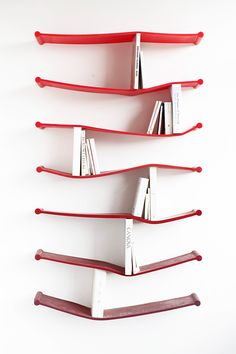 System of rubber book shelf designed by Luke Hart for The Sculpture House.