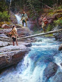 Native American artwork extraordinaire by Martin Grelle - 3 indians crossing a roaring creek in the middle of the forest! Brand new art release this month! Native American Warrior, Native American Wisdom, Native American Beauty, American Indian Art, Native American History, American Indians, Native American Paintings, Native American Pictures, American Artists