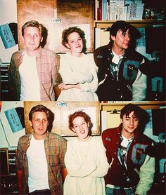 Emilio Estevez, Molly Ringwald and Judd Nelson on the set of The Breakfast Club