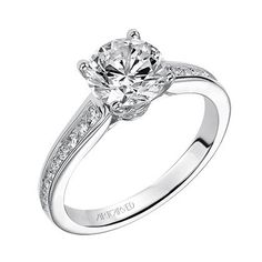 Artcarved Isla Diamond Channel Set Engagement Ring Featuring Side Diamonds at a Total Carat Weight of 0.33 Carats · 31-V499GRW-1 · Ben Garelick Jewelers