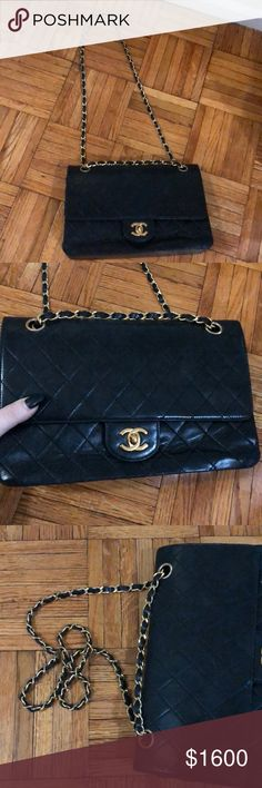 Vintage Chanel Purse This is an adorable black Chanel purse! Vintage with some normal wear and tear but in incredible condition. Manufactured before 1986. Double flap. Lamb skin  The clasp is loose and needs to be fixed. Was going to get that done but decided to put on here first. CHANEL Bags Shoulder Bags