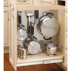 Rev-A-Shelf Kitchen, Desk or Vanity Base Cabinet Pullout Organizer w/ Perforated Accessory Hanging Panel #kitchensource #pinterest #followerfind
