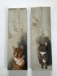 Katjes in olieverf op steigerhout