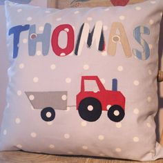 Personalised Handmade Cushions - Grey Polka Dot Tractor from June Hayes Designs £29.99