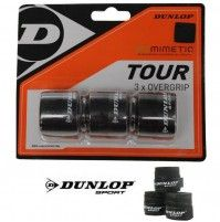 Dunlop Biomimetic Tour Overgrip 3 x Schwarz Griffbänder Badminton, Tennis, Tours, Real Tennis