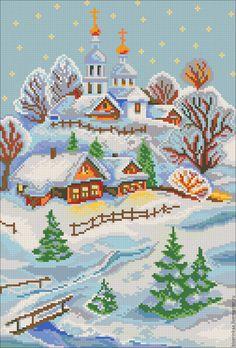 """Купить Схема для вышивки чешским бисером """"С Рождеством"""" с полной зашивкой - схема вышивки бисером"""