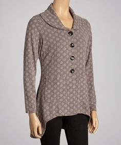 Look at this #zulilyfind! Taupe Polka Dot Hi-Low Jacket by Zashi #zulilyfinds