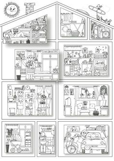 Coloring pages of the rooms in a house.