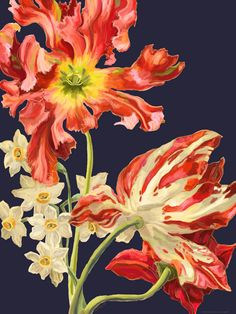 tude de tulipes III Floral Art Print Poster Painting by Heather Craig Painting Prints, Art Prints, Wrapped Canvas, Buy Art, Artwork, Floral Designs, Print Poster, Heather Grey, Spaces