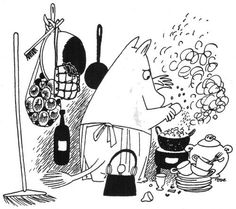Moominmamma in the kitchen