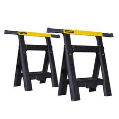 Ensure fast adjustments with the help of this fantastic and budget friendly Stanley two -Way Adjustable Folding Sawhorse. Tray opens for holding tool. Adjustable Sawhorse, Folding Sawhorse, Diy Sawhorse, Outdoor Checkers, Dremel Saw Max, Portable Workbench, Stanley Tools, Dremel Rotary Tool, Woodworking Jobs