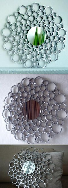 DIY Glittering Mirror.  Made with an old lid, carboard and sequins.  Amazing.