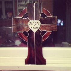 Finished wedding cross with wedding date and monogram!