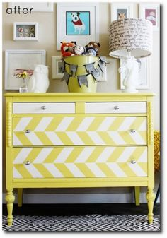Fun herringbone dresser Painted Furniture, Painted Funiture Paint Ideas, Hollywood Regency Decorating, Bold Paint, Glossy Paint Colors,