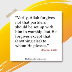 Shirk is the biggest sin in Islam. #Islam #Quran #Hadith #Allah #Muhammad Islamic Information, Islam Quran, Hadith, Muhammad, Forgiveness, Allah, God, Allah Islam